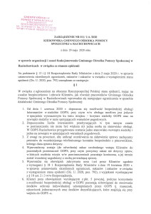 Zarządzenie Kierownika GOPS w Raciechowicach w sprawie organizacji i zasad funkcjonowania Gminnego Ośrodka Pomocy Społecznej w Raciechowicach w związku ze stanem epidemii-1