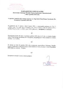 Zarządzenie - dzień wolny w dniu 24.12.2020 r.